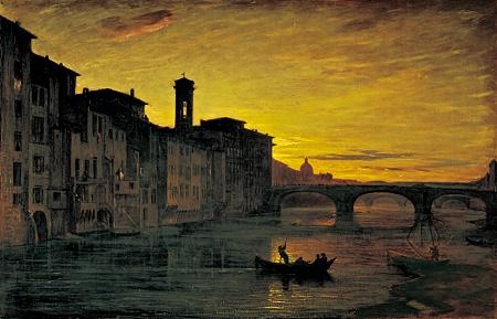 アントニオ・フォンタネージ『サンタ・トリニタ橋付近のアルノ川』 1867年油彩・キャンヴァス © Galleria d'arte moderna di Palazzo Pitti