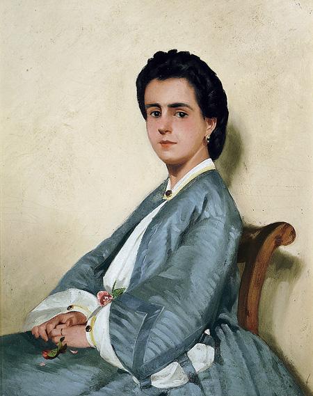 ジョヴァンニ・ファットーリ『従姉妹アルジアの肖像』1858-1860年頃油彩・厚紙 © Galleria d'arte moderna di Palazzo Pitti