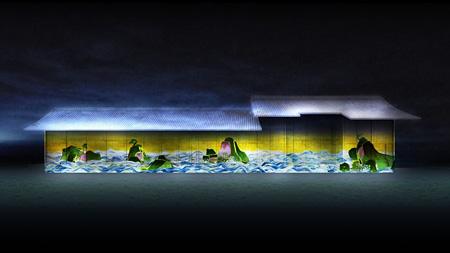 『百年海図巻 佐賀城 Ver.』 チームラボ、2013、デジタルインスタレーション、10min 、音楽:高橋英明
