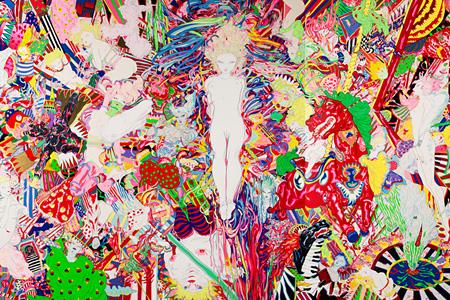 天野喜孝『春』(部分) 2013 オートモーティブペイント、アクリル、アルミパネル300x750x10cm ©AMANO Yoshitaka Courtesy Mizuma Art Gallery(参考画像)