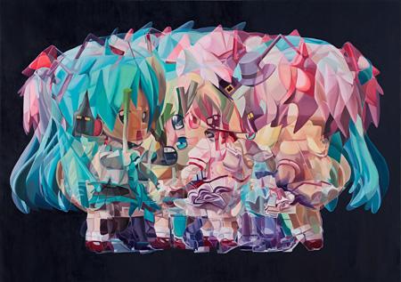 東麻奈美『MERRY GO ROUND (かごめ)』、キャンバスに油彩、2012年