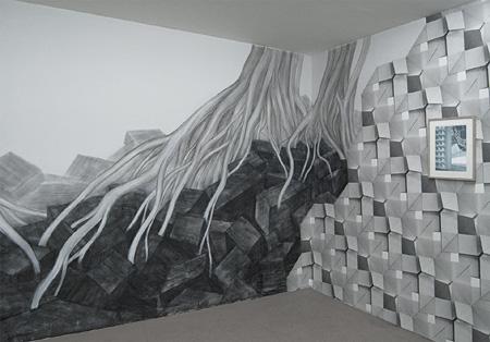 土橋素子『折りたたまれた小屋』2011年 Gallery Laurent Mueller(パリ、フランス)展示風景