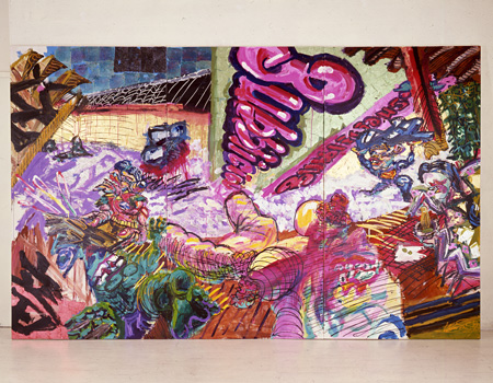 篠原有司男『竜安寺』 1984年 アクリル、カンバス 226 x 366 cm 篠原有司男+乃り子蔵東京画廊+BTAP 協力 ©Ushio+ Noriko Shinohara
