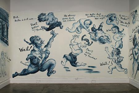 篠原乃り子『キューティーの絵巻絵画』展示風景、hpgrp(ニューヨーク)にて 2010 油彩、カンバス 作家蔵 ©Noriko Shinohara