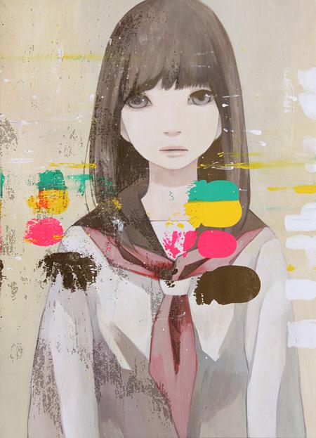 大槻香奈『ふた肌』2013年 455×333mm  ケント紙・アクリル・トーン・スプレー