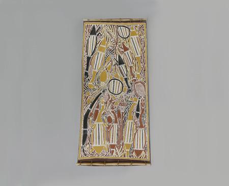 樹皮画『マイ・カントリー』 作者:ジョニー・ブルンブルン 民族:アボリジニ 国名:オーストラリア 1982年制作 国立民族学博物館蔵 写真提供:国立民族学博物館
