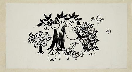 「ムーミンハパ海へ行く」挿絵 1965 年、インク画、7.4×13.8cm ©Moomin Characters™ Tampere Art Museum Moominvalley