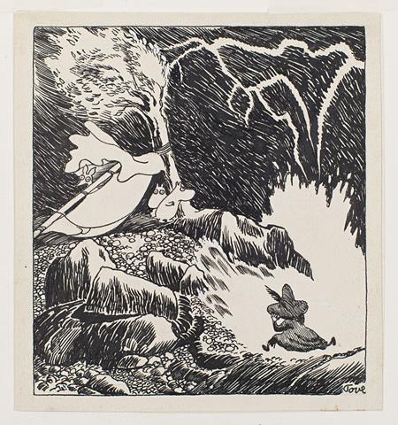 「楽しいムーミン一家」挿絵 1948 年、インク画, 12,7×11,5 ©Moomin Characters™ Tampere Art Museum Moominvalley