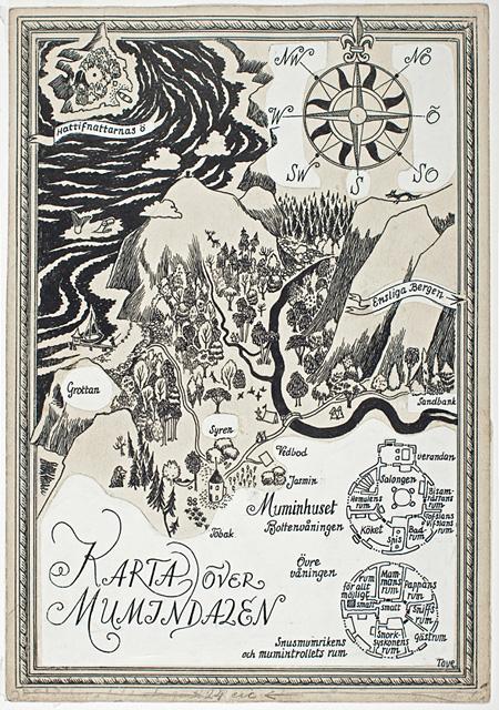 「楽しいムーミン一家」ムーミン谷の挿絵 1948 年、インク画、21.6×15cm ©Moomin Characters™ Tampere Art Museum Moominvalley