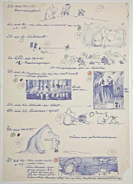 「ムーミン谷の冬」スケッチ 1957 年、ボールペン画、29.7×21cm ©Moomin Characters™ Tampere Art Museum Moominvalley