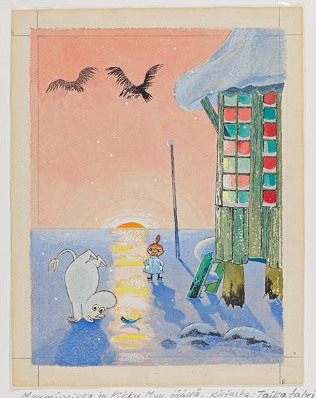 「ムーミン谷の冬」習作 インク・水彩画、22.8×17.5cm ©Moomin Characters™ Tampere Art Museum Moominvalley