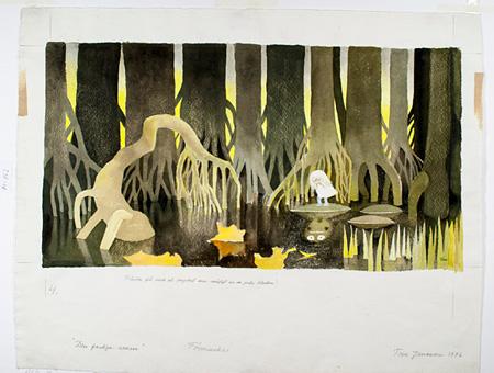 「ムーミン谷への不思議なたび」挿絵 1976 年、インク・水彩画、38.2×48.3cm ©Moomin Characters™ Tampere Art Museum Moominvalley