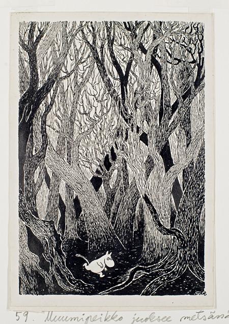 「ムーミン谷の彗星」挿絵 1968 年、インク画、19.5×13.5cm ©Moomin Characters™ Tampere Art Museum Moominvalley