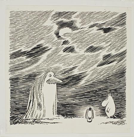 「ムーミンパパ海へ行く」挿絵 1965 年、インク画、12×12㎝  ©Moomin Characters™ Tampere Art Museum Moominvalley