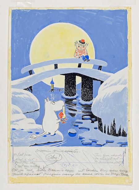 「ムーミン谷の冬」表紙絵 習作 1956~1957 年、インク・水彩画、21.2×14 cm ©Moomin Characters™ Tampere Art Museum Moominvalley