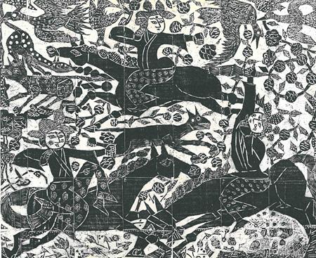 棟方志功『華狩頌』 1954年(昭和29) 木版 130×158cm 日本民藝館蔵
