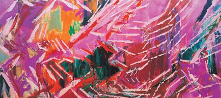 『連差―破房XI(斜傾精神)』2002年 アクリリック/綿布 400×900cm 豊田市美術館蔵