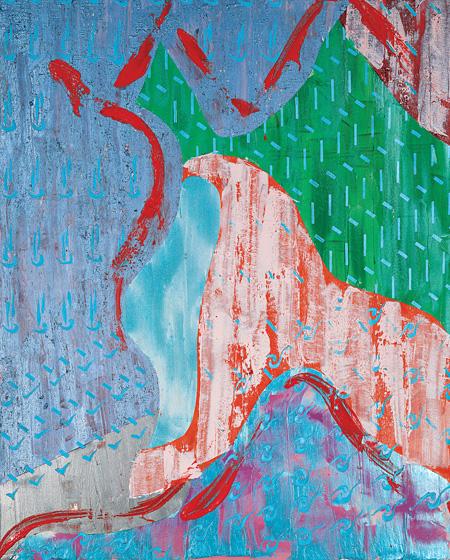 『織桑鳥IV(フェニックスIV)』2002年 アクリリック、土、メッキ箔/綿布 300.1×240.2cm 作家蔵