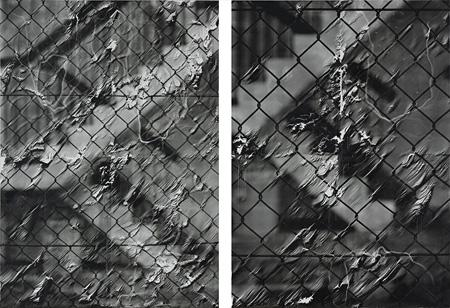 金 光男『1、row-kanaami #17  2、row-kanaami #16』227.3×162.3cm 227.3×162.3cm パラフィンをひいたパネルにシルクスクリーン、バーナー