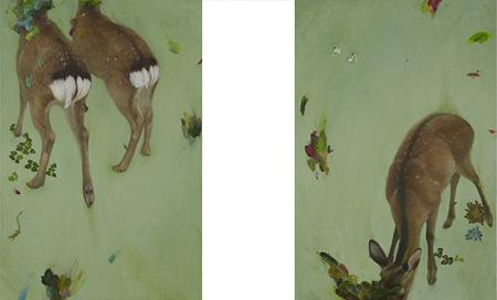佐藤 香菜『マブイグミ(enter) マブイグミ(exit)』194.0×130.3cm 、194.0×130.3.0cm 油彩、刺繍、カンヴァス