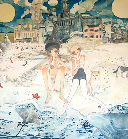 『すべてが至福の海にとけますように』、 2014(部分)、Oil on canvas、2300 x 6500 mm ©2014 Aya Takano/Kaikai Kiki Co., Ltd. All Rights Reserved.