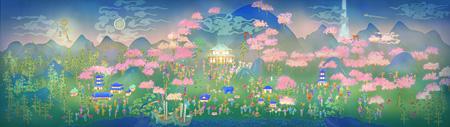 『まほろば』, 2014, チームラボ, デジタルワーク, 10min 30sec, 6480×1920 pixels, 監修:松岡正剛