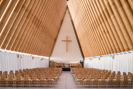 Cardboard Cathedral, 2013, Christchurch, New Zealand, Photo by Stephen Goodenough, courtesy of Shigeru Ban Architects