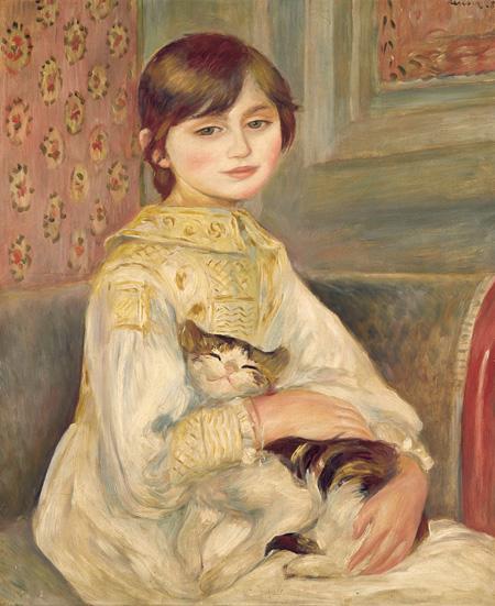 ピエール=オーギュスト・ルノワール『ジュリー・マネの肖像、あるいは猫を抱く子ども』1887年 オルセー美術館 ©RMN-Grand Palais(musée d'Orsay) / Hervé Lewandowski / distributed by AMF – DNPartcom