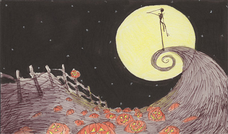 The Nightmare Before Christmas storyboard 1993 Pen and ink, watercolor wash, and colored pencil on paper 5 x 7
