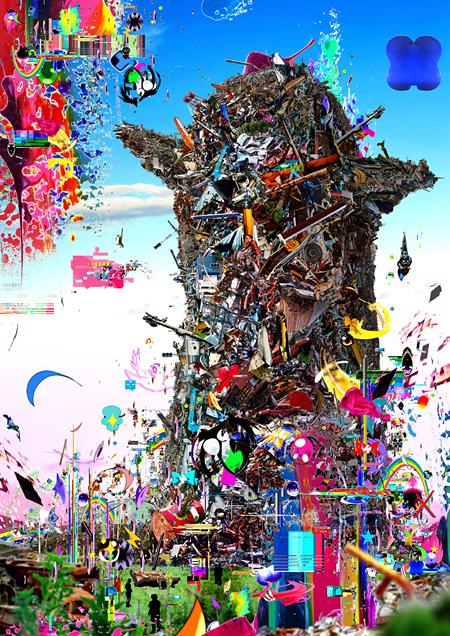 梅沢和木『ツナミの塔』デジタルコラージュ、2013年