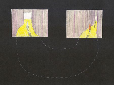 西澤徹夫による「映画をめぐる美術――マルセル・ブロータースから始める」会場構成イメージスケッチ