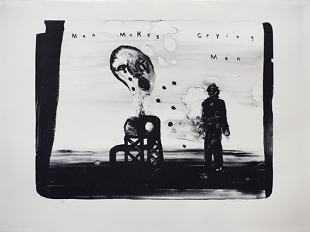 David Lynch『Man Makes Crying Man』2012, lithograph, 63×86cm, e.d.30, courtesy item editions ©David Lynch