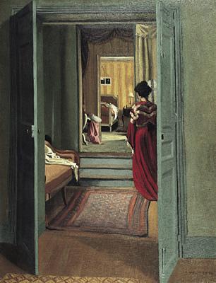 フェリックス・ヴァロットン『赤い服を着た後姿の女性のいる室内』1903年 油彩/カンヴァスチューリッヒ美術館 © 2013 Kunsthaus Zürich. All rights reserved.