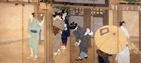 池田輝方『夕立』(右)1916(大正5)年 絹本・彩色 山種美術館