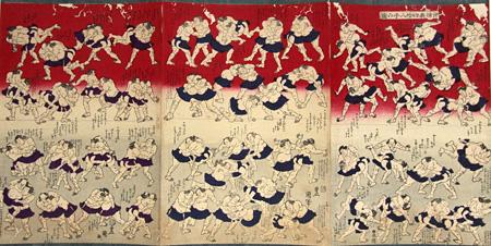 二代歌川国貞『相撲表四拾八手の図』