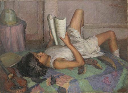 霜鳥之彦『少女(休憩)』 1926(大正15)年 キャンバス、油彩 72.7×100.0cm 京都市美術館蔵