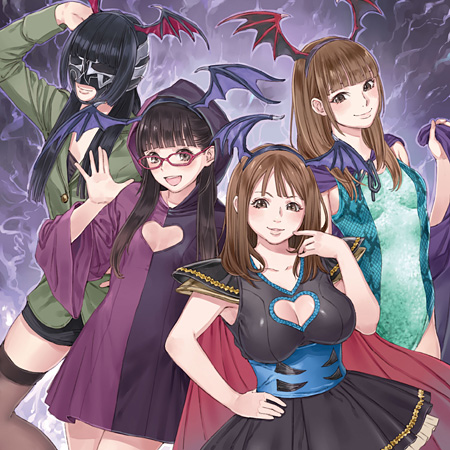 岸田メルによる夏の魔物エンタメユニットDPG VS ブラックDPG『スーパーエンタメ大戦』ブラックDPG盤ジャケット
