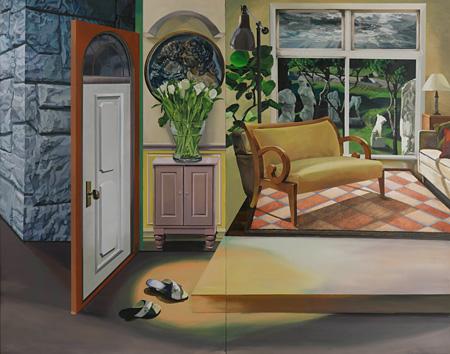 厚地朋子『コメディー』油彩、キャンバス 210.0×270.0cm 2013年 作家蔵 ©the artist Courtesy of taïmatz