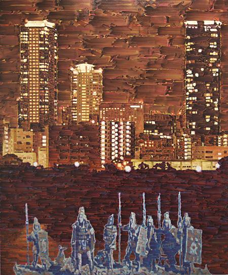 政田武史『赤の他人列伝・潤むジャンゴー』油彩、キャンバス 194.0×162.0cm 2012年 作家蔵 ©the artist Courtesy of Wako Works of Art