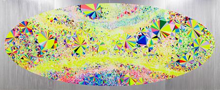 大野智史『PRISM Bye Bye Sunset』油彩、アクリル絵具、キャンバス、パネル 300.5×728.5cm 2013年 高橋コレクション蔵 ©the artist Courtesy of Tomio Koyama Gallery