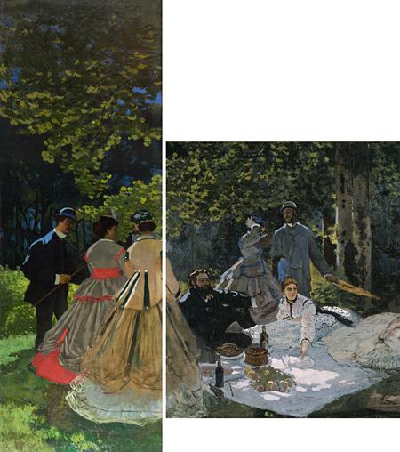 クロード・モネ『草上の昼食』1865-66年 油彩/カンヴァス 418×150cm(左)248.7×218cm(右)©Musée d'Orsay, Dist. RMN-Grand Palais / Patrice Schmidt / distributed by AMF