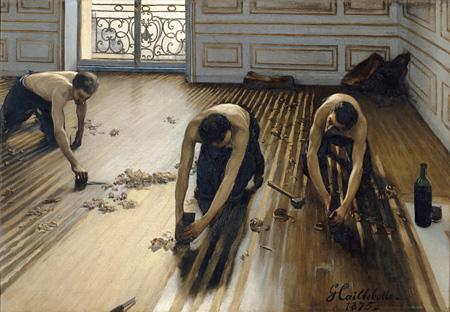 ギュスターヴ・カイユボット『床に鉋(かんな)をかける人々』1875年 油彩/カンヴァス 102×147cm ©RMN-Grand Palais (musée d'Orsay) / Hervé Lewandowski / distributed by AMF