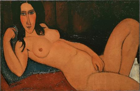 アメデオ・モディリアーニ『髪をほどいた横たわる裸婦』 1917年 大阪新美術館建設準備室蔵