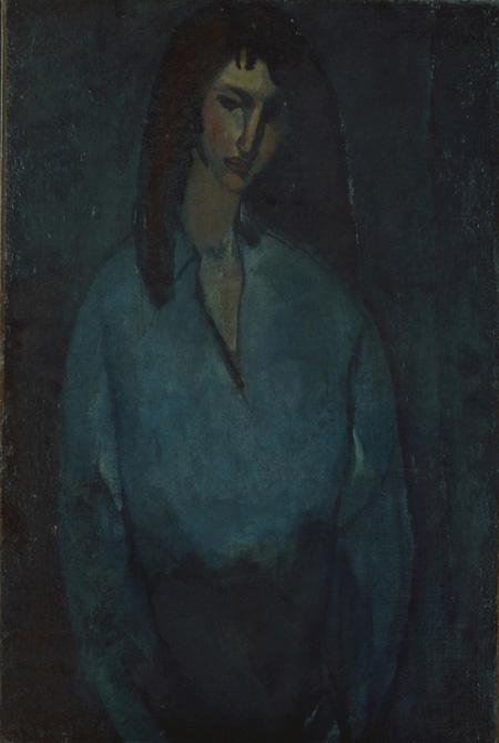 アメデオ・モディリアーニ『青いブラウスの婦人像』 1910年頃 公益財団法人ひろしま美術館蔵
