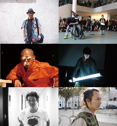 左上から時計回りに大友良英、contact Gonzo、伊東篤宏、恩田晃、山崎広太、室伏鴻