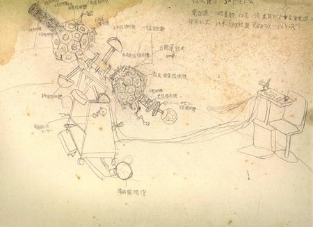 大平貴之『小学校の頃に書いたプラネタリウム設計図』(複写)大平技研蔵