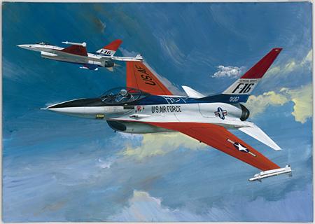 高荷義之『F-16エア・コンバットファイター』1976年 ボード紙、アクリル絵具 株式会社タミヤ蔵