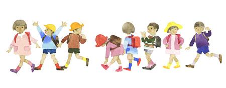 いわさきちひろ『ランドセルをしょって並んで歩く一年生』 1966年