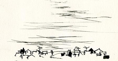 いわさきちひろ『空と家並み』 1966年