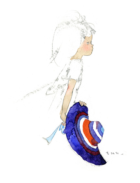 いわさきちひろ『青いつば広帽子を持つ少女』 1969年